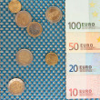 Euro banknotes and euro cents on blue background — Stock Photo #27113417