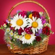 Beautiful bright flowers in wicker basket on table on pink background — Stock Photo #27113783