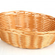 Wicker basket for bread isolated on white — Stock Photo