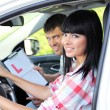 Stock Photo: Beautiful young womtaking driving lesson