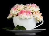 Róże w pucharze na czarnym tle — Zdjęcie stockowe