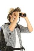 Young hiker man tourist with binocular, isolated on white — Stock Photo