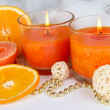 Romantic lighted candles close up — Stock Photo #27245507