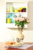 Kitchen composition on table on shelf background — Stock Photo