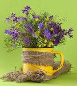 Beautiful bouquet of wildflowers in cup on green background — Stock Photo