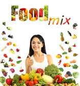 Girl with vegetables and fruits isolated on white — Stock Photo