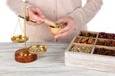 Sale of coffee and different spices — Stock Photo