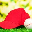 Red peaked cap on grass on natural background — Foto Stock