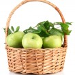 Juicy green apples with leaves in basket, isolated on white — Stock Photo