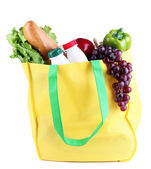 Eco bag with shopping isolated on white — Stok fotoğraf