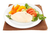 Boiled chicken breast on plate with vegetables isolated on white — Stock Photo