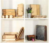 Books on white shelves — Stock Photo