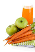 Glass of juice, apples and carrots, isolated on white — Stock Photo