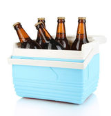 Traveling refrigerator with beer bottles isolated on white — Stock Photo