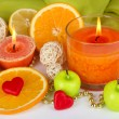 Romantic lighted candles close up — Stock Photo #27370989