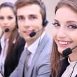 Stock Photo: Call center operators at work