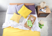 Bed with breakfast in room top view close-up — Stock Photo
