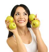 Mädchen mit frischen äpfeln, isoliert auf weiss — Stockfoto