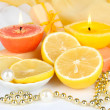 Romantic lighted candles close up — Stock Photo #27412823