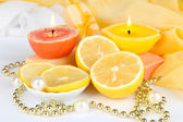 Romantic lighted candles close up — Stock Photo