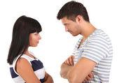 Loving couple quarrel isolated on white — Stock Photo