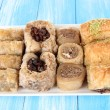 Sweet baklava on plate on table — Foto Stock