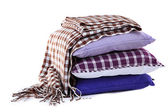 Hill colorful pillows and plaid isolated on white — Stock Photo