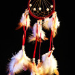 Beautiful dream catcher on black background — Stock Photo