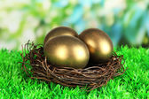 Three golden eggs in nest on grass on bright background — Stock Photo