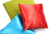 Three bright pillows isolated on white — Zdjęcie stockowe