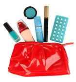Hormonale pillen in vrouwen make-up tas geïsoleerd op wit — Stockfoto