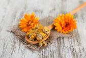 木制背景上干、 鲜金盏花鲜花 — 图库照片