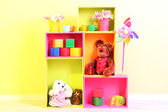 Bright shelves of different colors with toys on wall background — Stock Photo