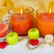 Romantic lighted candles close up — Stock Photo #27498493