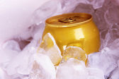 Metal tin with ice close-up — Stock Photo