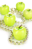 Aroma apple candles with beads close up — Stockfoto