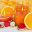 Romantic lighted candles close up — Stock Photo #27621505