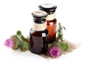 Medicine bottles with thistle flowers, isolated on white — Foto de Stock