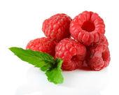 Ripe sweet raspberries isolated on white — Stock Photo