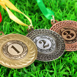 Stock Photo: Three medals on grass background