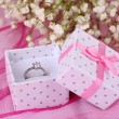 Engagement ring on pink cloth — Stock Photo #27722653