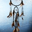 Beautiful dream catcher on blue background with lights — Stock Photo #27722857