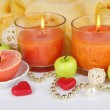Romantic lighted candles close up — Foto Stock