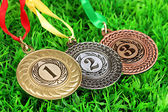 Three medals on grass background — Stock Photo