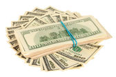 Many of one hundred dollars banknotes close-up isolated on white — Stock Photo