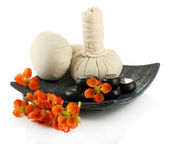 Herbal compress balls for spa treatment and spa stones isolated on white — Stock Photo