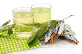 Glasses of birch sap, isolated on white — Stock Photo