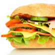 Fresh and tasty sandwich with ham and vegetables isolated on white — Stock Photo #27732867