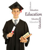 Young graduation man holding diploma and books, isolated on white — Stock Photo