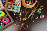 Workplace of jewellery maker close-up — Stock Photo